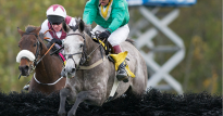 Dawalan and Ross Geraghty enroute to winning the 2015 American Grand National Steeplechase in Far Hills, NJ.   Photo: Tod Marks